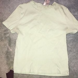 Fitted short sleeve mint green t shirt from H&M